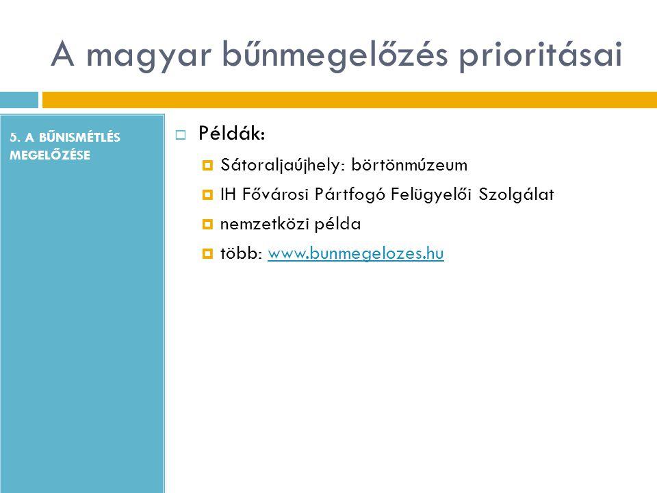A magyar bűnmegelőzés prioritásai 5. A BŰNISMÉTLÉS MEGELŐZÉSE  Példák:  Sátoraljaújhely: börtönmúzeum  IH Fővárosi Pártfogó Felügyelői Szolgálat 
