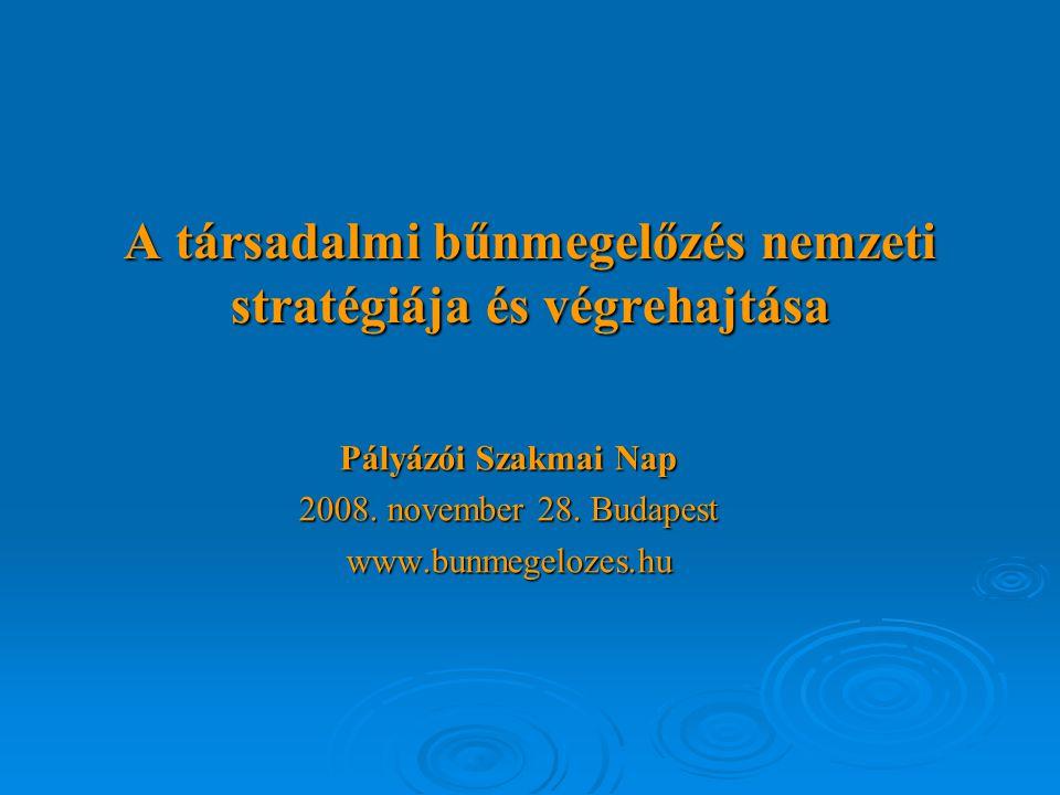 A társadalmi bűnmegelőzés nemzeti stratégiája és végrehajtása Pályázói Szakmai Nap 2008.
