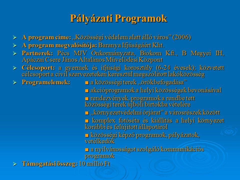 """Pályázati Programok  A program címe: """"Közösségi védelem alatt álló város (2006)  A program megvalósítója: Baranya Ifjúságáért Kht."""