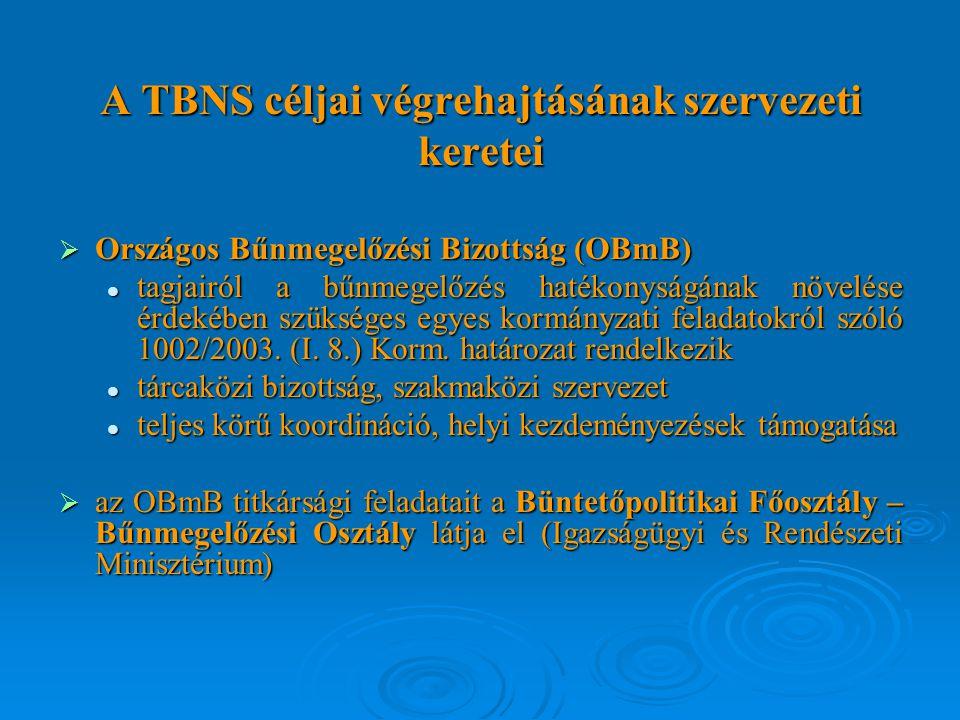 A TBNS céljai végrehajtásának szervezeti keretei  Országos Bűnmegelőzési Bizottság (OBmB) tagjairól a bűnmegelőzés hatékonyságának növelése érdekében szükséges egyes kormányzati feladatokról szóló 1002/2003.
