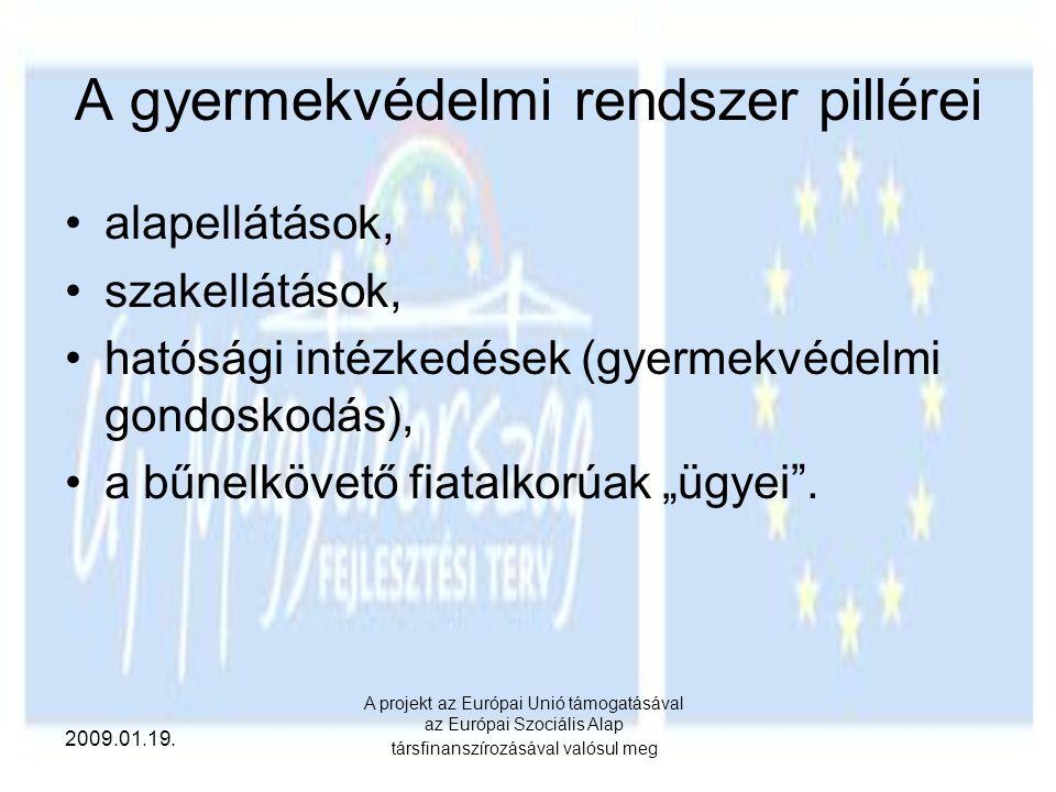 2009.01.19. A projekt az Európai Unió támogatásával az Európai Szociális Alap társfinanszírozásával valósul meg A gyermekvédelmi rendszer pillérei ala
