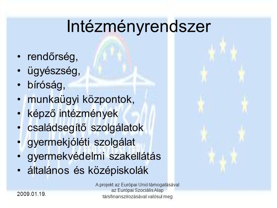 2009.01.19. A projekt az Európai Unió támogatásával az Európai Szociális Alap társfinanszírozásával valósul meg Intézményrendszer rendőrség, ügyészség