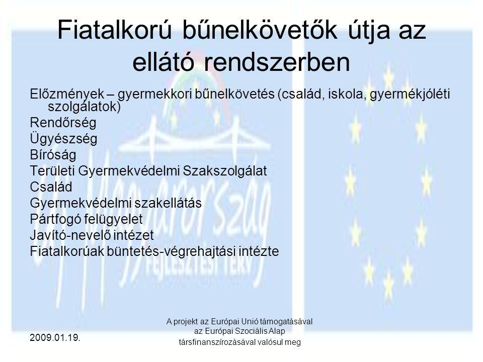 2009.01.19. A projekt az Európai Unió támogatásával az Európai Szociális Alap társfinanszírozásával valósul meg Fiatalkorú bűnelkövetők útja az ellátó