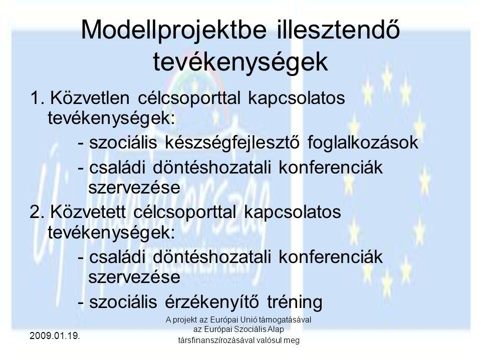 2009.01.19. A projekt az Európai Unió támogatásával az Európai Szociális Alap társfinanszírozásával valósul meg Modellprojektbe illesztendő tevékenysé