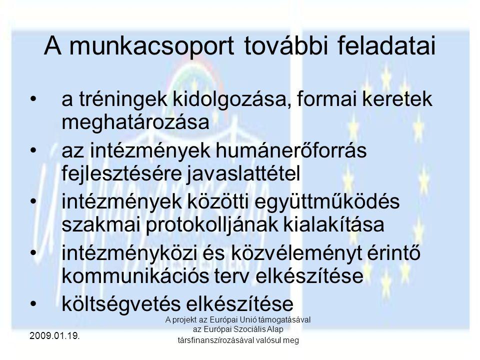 2009.01.19. A projekt az Európai Unió támogatásával az Európai Szociális Alap társfinanszírozásával valósul meg A munkacsoport további feladatai a tré