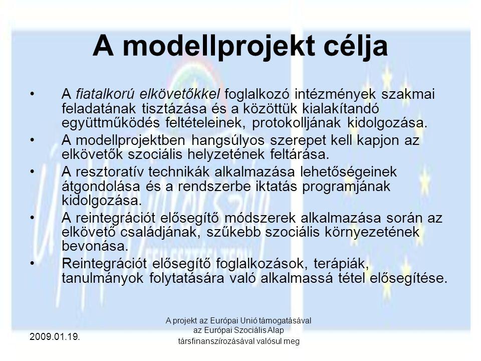 2009.01.19. A projekt az Európai Unió támogatásával az Európai Szociális Alap társfinanszírozásával valósul meg A modellprojekt célja A fiatalkorú elk