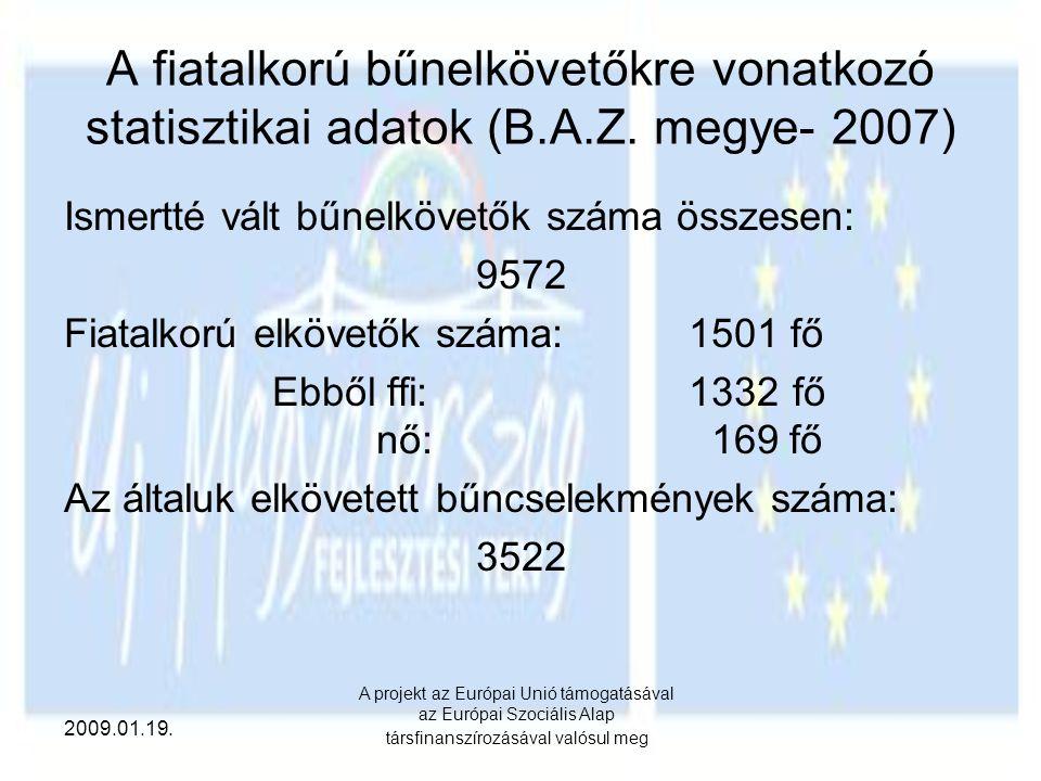 2009.01.19. A projekt az Európai Unió támogatásával az Európai Szociális Alap társfinanszírozásával valósul meg A fiatalkorú bűnelkövetőkre vonatkozó