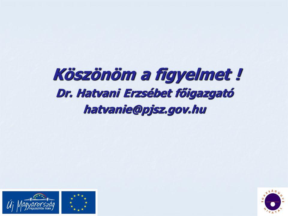 Köszönöm a figyelmet ! Köszönöm a figyelmet ! Dr. Hatvani Erzsébet főigazgató hatvanie@pjsz.gov.hu