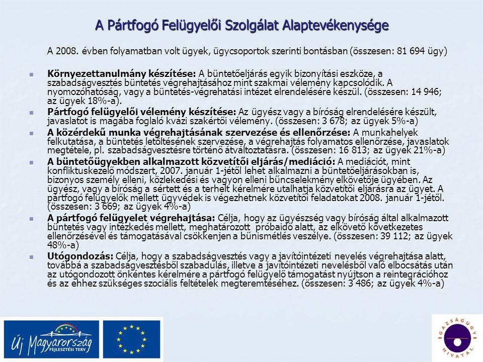 A Pártfogó Felügyelői Szolgálat Alaptevékenysége A 2008.