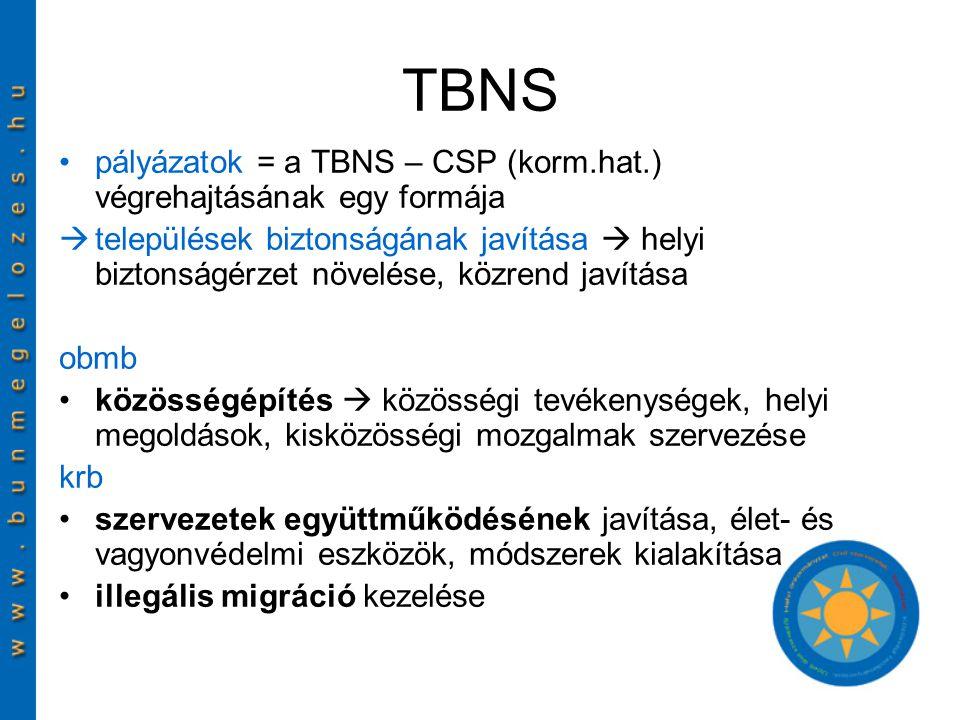 TBNS pályázatok = a TBNS – CSP (korm.hat.) végrehajtásának egy formája  települések biztonságának javítása  helyi biztonságérzet növelése, közrend javítása obmb közösségépítés  közösségi tevékenységek, helyi megoldások, kisközösségi mozgalmak szervezése krb szervezetek együttműködésének javítása, élet- és vagyonvédelmi eszközök, módszerek kialakítása illegális migráció kezelése