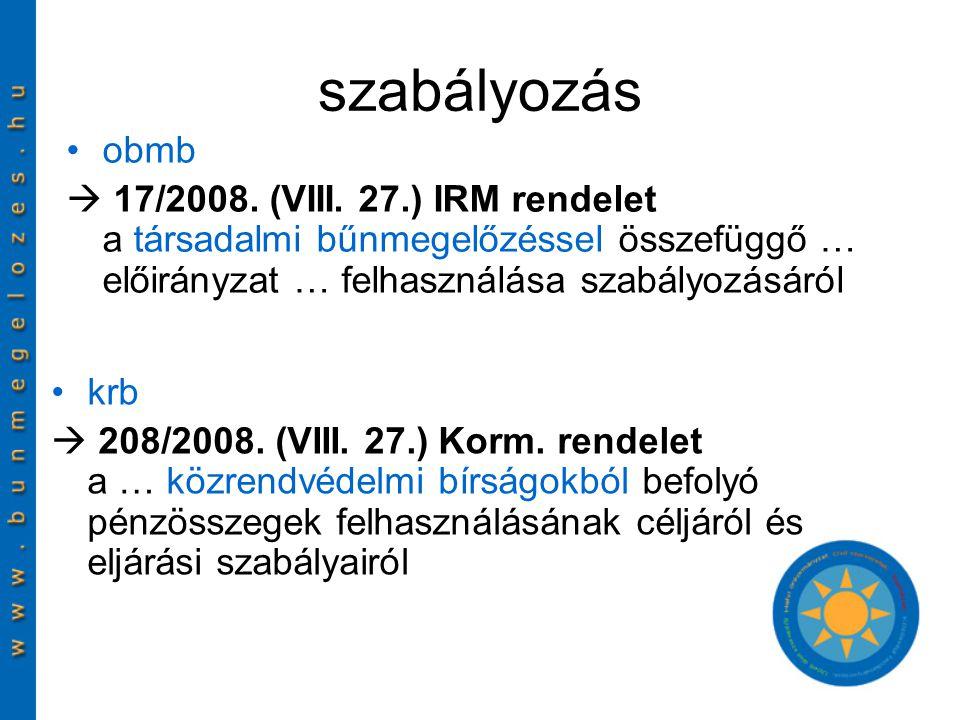 szabályozás obmb  17/2008. (VIII.