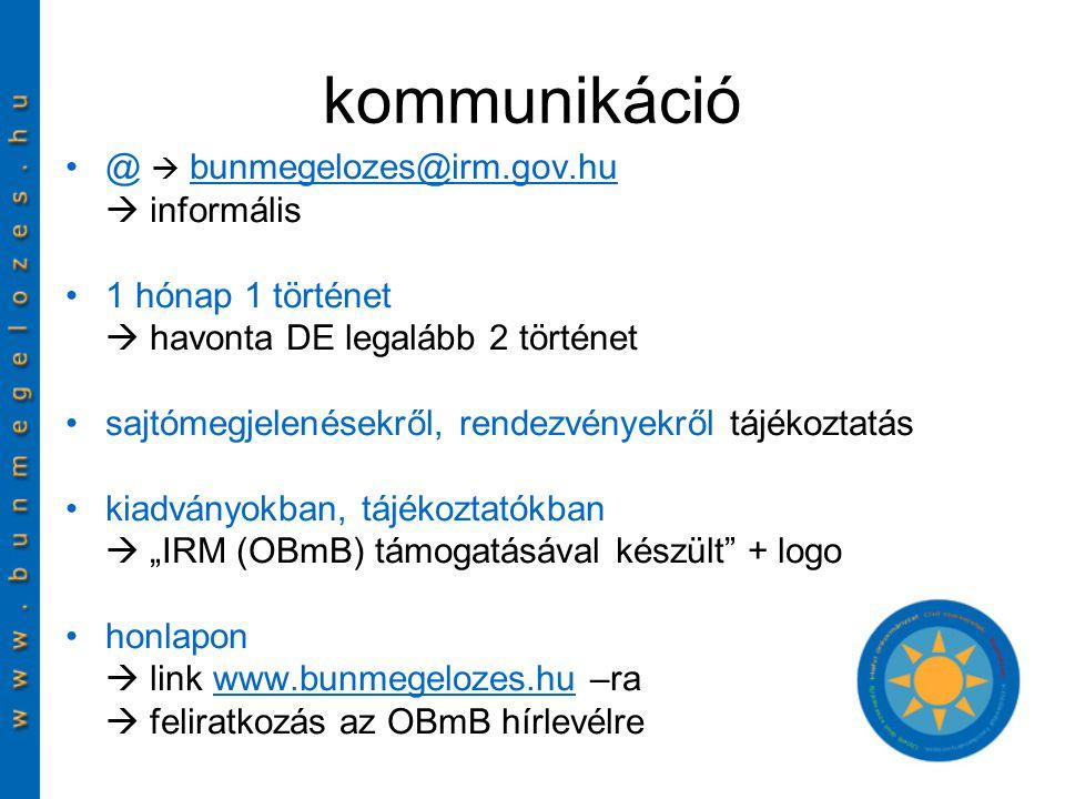 """kommunikáció @  bunmegelozes@irm.gov.hubunmegelozes@irm.gov.hu  informális 1 hónap 1 történet  havonta DE legalább 2 történet sajtómegjelenésekről, rendezvényekről tájékoztatás kiadványokban, tájékoztatókban  """"IRM (OBmB) támogatásával készült + logo honlapon  link www.bunmegelozes.hu –rawww.bunmegelozes.hu  feliratkozás az OBmB hírlevélre"""