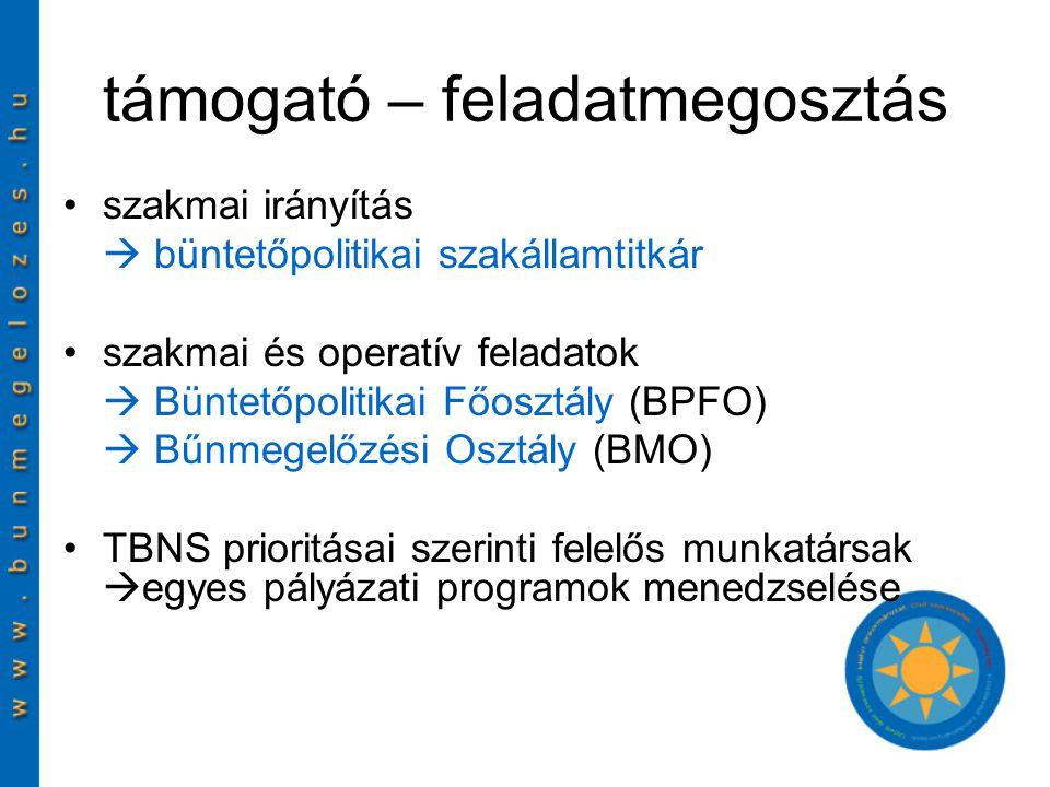 támogató – feladatmegosztás szakmai irányítás  büntetőpolitikai szakállamtitkár szakmai és operatív feladatok  Büntetőpolitikai Főosztály (BPFO)  Bűnmegelőzési Osztály (BMO) TBNS prioritásai szerinti felelős munkatársak  egyes pályázati programok menedzselése