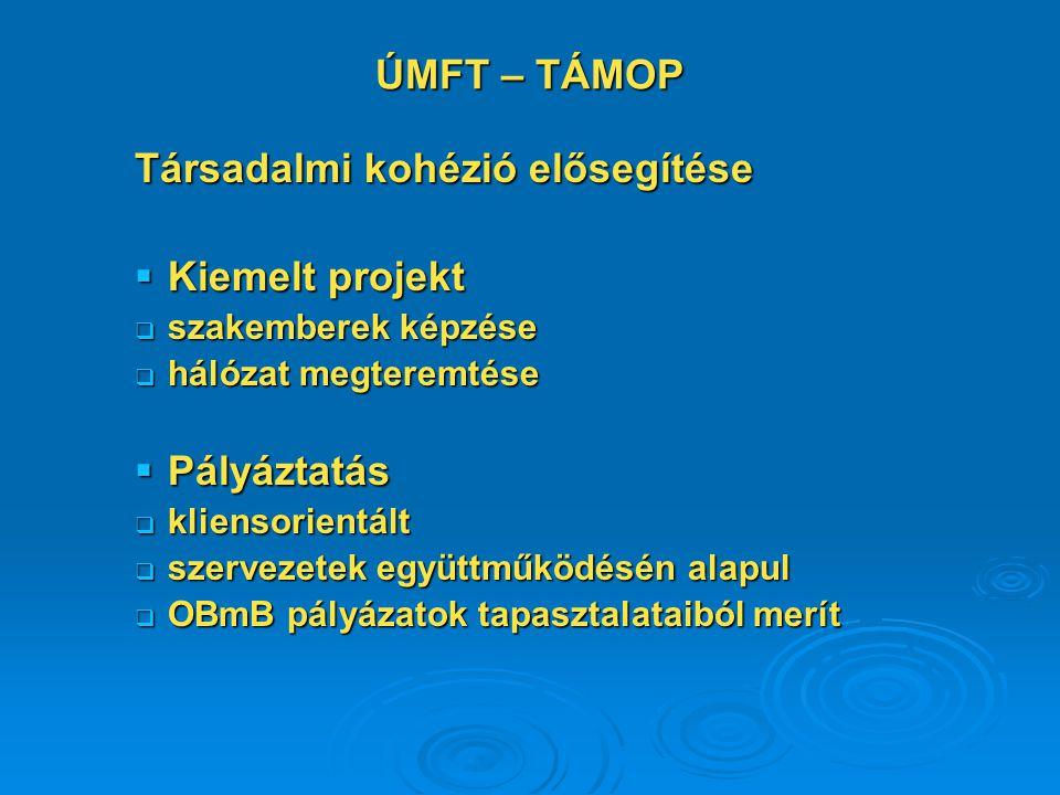 ÚMFT – TÁMOP Társadalmi kohézió elősegítése  Kiemelt projekt  szakemberek képzése  hálózat megteremtése  Pályáztatás  kliensorientált  szervezetek együttműködésén alapul  OBmB pályázatok tapasztalataiból merít