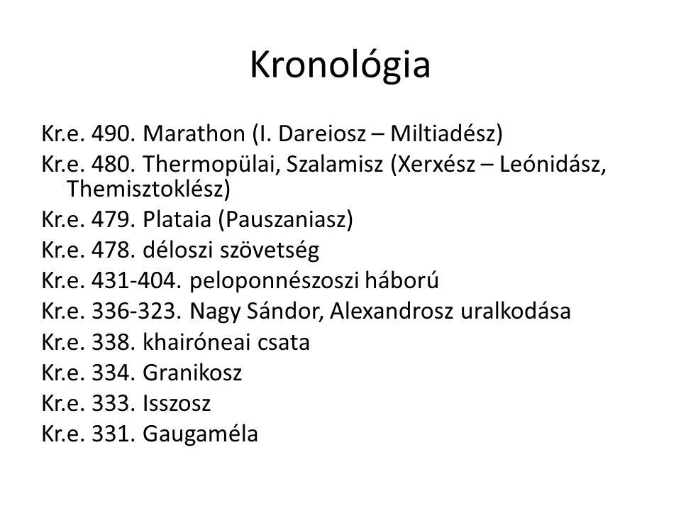 Kronológia Kr.e. 490. Marathon (I. Dareiosz – Miltiadész) Kr.e. 480. Thermopülai, Szalamisz (Xerxész – Leónidász, Themisztoklész) Kr.e. 479. Plataia (