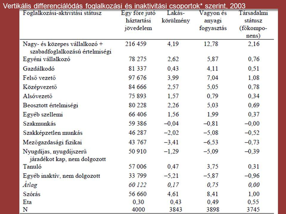 Vertikális differenciálódás foglalkozási és inaktivitási csoportok* szerint, 2003