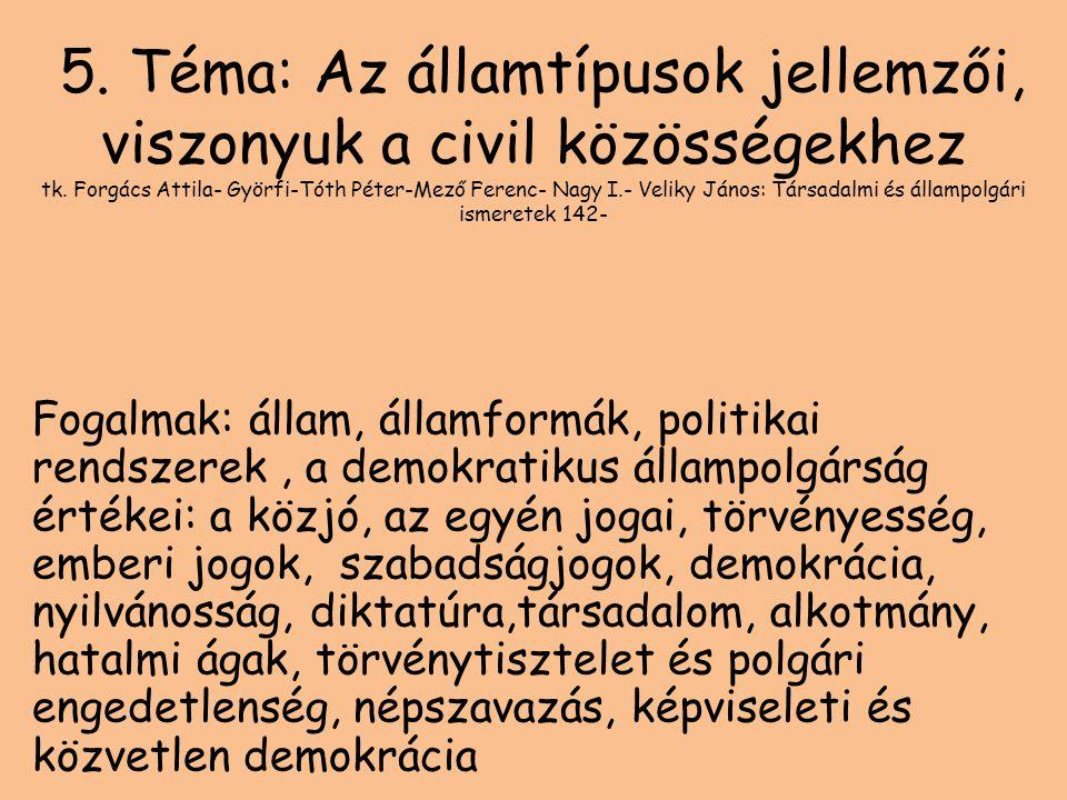 5. Téma: Az államtípusok jellemzői, viszonyuk a civil közösségekhez tk. Forgács Attila- Györfi-Tóth Péter-Mező Ferenc- Nagy I.- Veliky János: Társadal