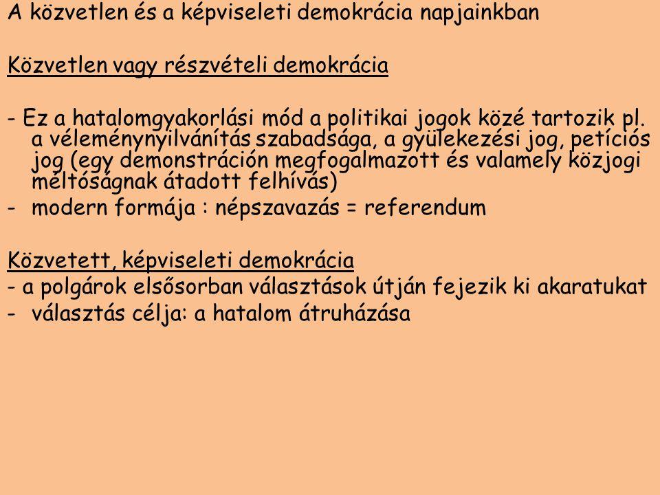 A közvetlen és a képviseleti demokrácia napjainkban Közvetlen vagy részvételi demokrácia - Ez a hatalomgyakorlási mód a politikai jogok közé tartozik