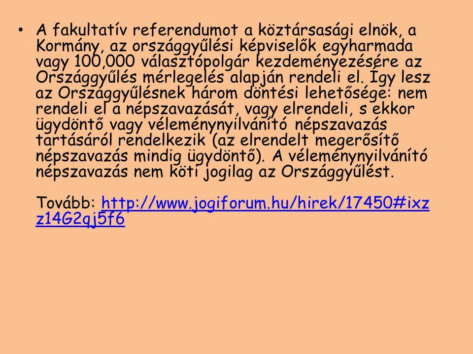 A fakultatív referendumot a köztársasági elnök, a Kormány, az országgyűlési képviselők egyharmada vagy 100,000 választópolgár kezdeményezésére az Orsz
