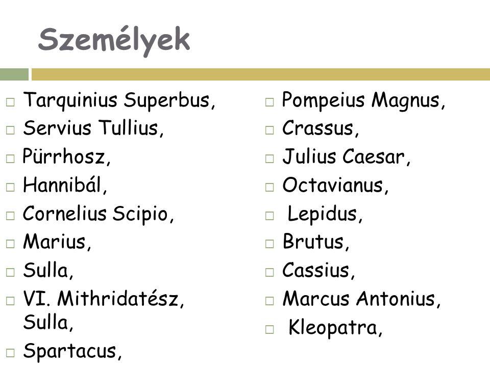 Személyek  Tarquinius Superbus,  Servius Tullius,  Pürrhosz,  Hannibál,  Cornelius Scipio,  Marius,  Sulla,  VI. Mithridatész, Sulla,  Sparta