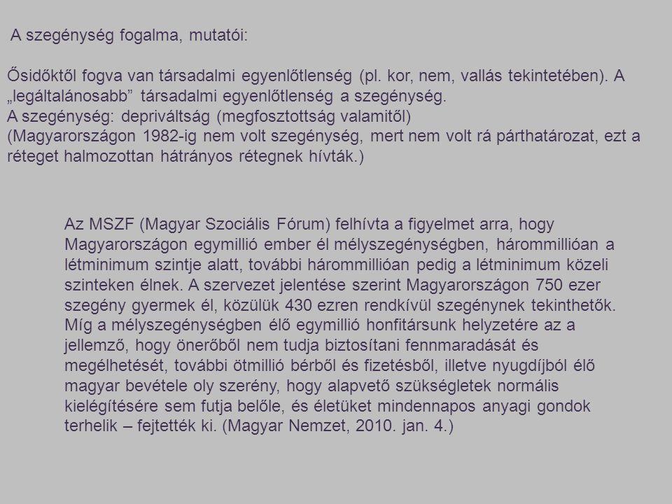 Az MSZF (Magyar Szociális Fórum) felhívta a figyelmet arra, hogy Magyarországon egymillió ember él mélyszegénységben, hárommillióan a létminimum szint