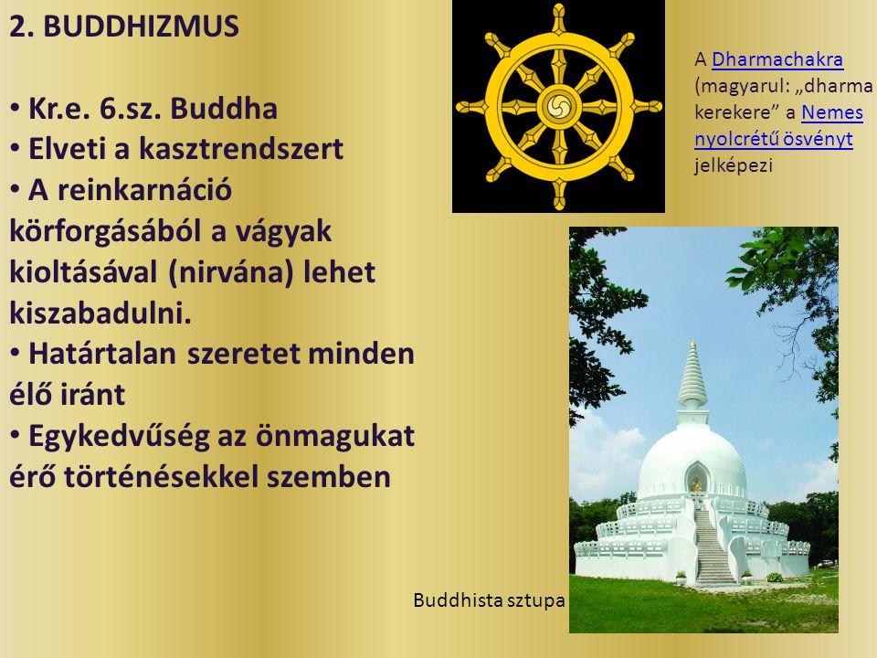 2. BUDDHIZMUS Kr.e. 6.sz. Buddha Elveti a kasztrendszert A reinkarnáció körforgásából a vágyak kioltásával (nirvána) lehet kiszabadulni. Határtalan sz