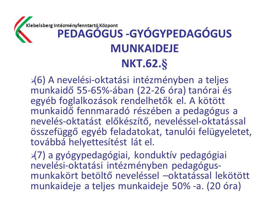 PEDAGÓGUS -GYÓGYPEDAGÓGUS MUNKAIDEJE NKT.62.§  (6) A nevelési-oktatási intézményben a teljes munkaidő 55-65%-ában (22-26 óra) tanórai és egyéb foglal