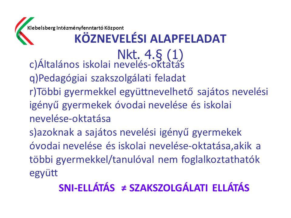 KÖZNEVELÉSI ALAPFELADAT Nkt. 4.§ (1) Klebelsberg Intézményfenntartó Központ c)Általános iskolai nevelés-oktatás q)Pedagógiai szakszolgálati feladat r)