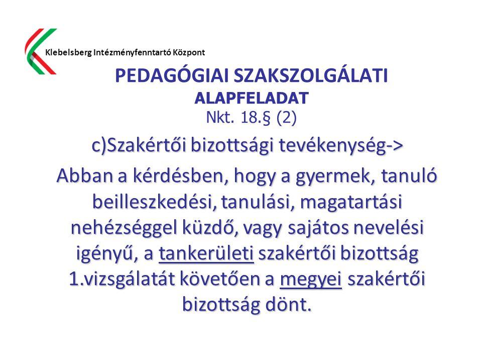 PEDAGÓGIAI SZAKSZOLGÁLATI ALAPFELADAT Nkt. 18.§ (2) Klebelsberg Intézményfenntartó Központ c)Szakértői bizottsági tevékenység-> Abban a kérdésben, hog