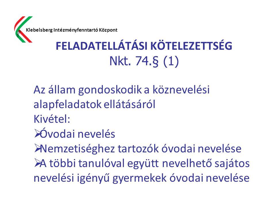 FELADATELLÁTÁSI KÖTELEZETTSÉG Nkt. 74.§ (1) Klebelsberg Intézményfenntartó Központ Az állam gondoskodik a köznevelési alapfeladatok ellátásáról Kivéte