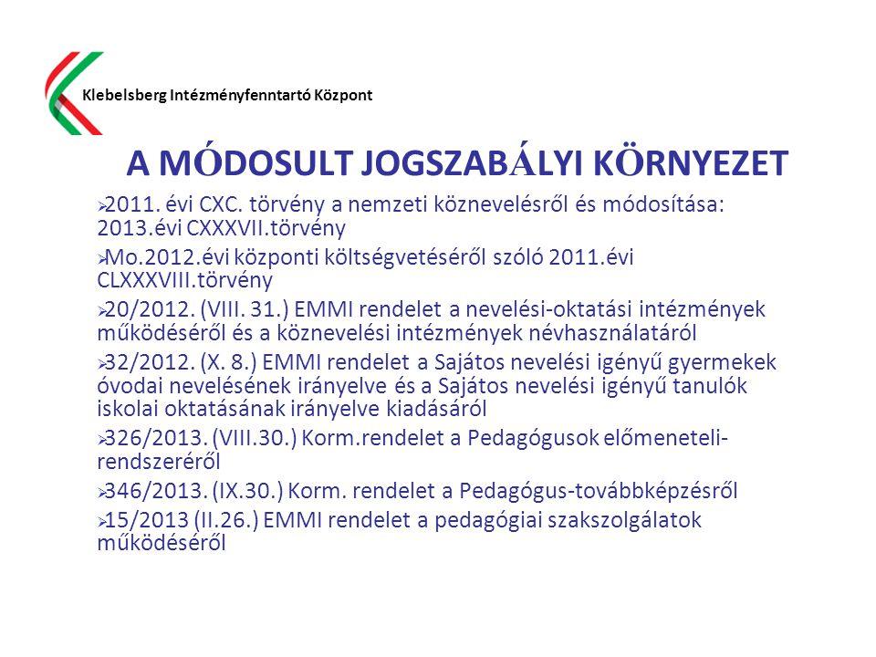 A M Ó DOSULT JOGSZAB Á LYI K Ö RNYEZET  2011. évi CXC. törvény a nemzeti köznevelésről és módosítása: 2013.évi CXXXVII.törvény  Mo.2012.évi központi