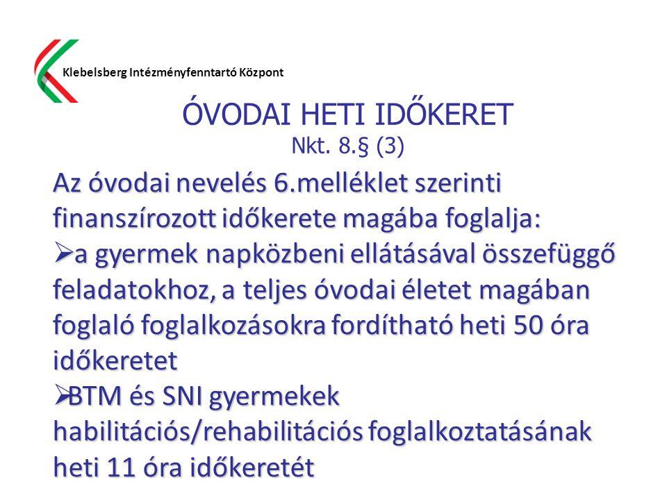 ÓVODAI HETI IDŐKERET Nkt. 8.§ (3) Klebelsberg Intézményfenntartó Központ Az óvodai nevelés 6.melléklet szerinti finanszírozott időkerete magába foglal