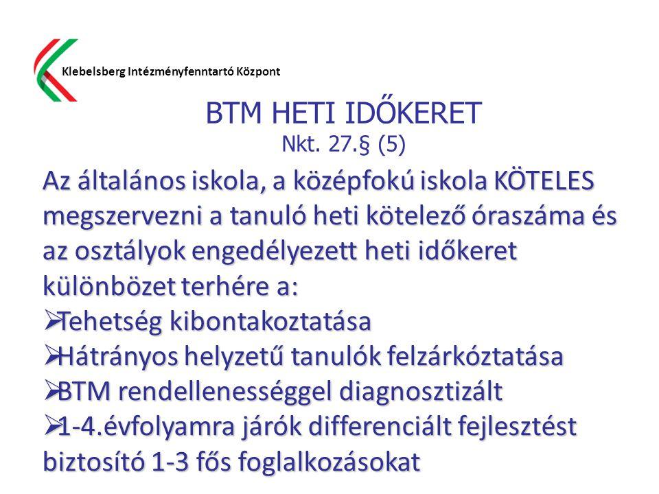 BTM HETI IDŐKERET Nkt. 27.§ (5) Klebelsberg Intézményfenntartó Központ Az általános iskola, a középfokú iskola KÖTELES megszervezni a tanuló heti köte