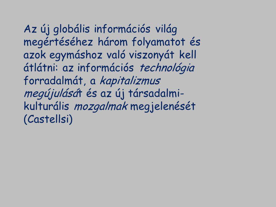 Az információs technológia fejlődése Az információs és kommunikációs eszközök forradalma: - telefon, Bell 1876 - rádió, Marconi 1898 - tranzisztor, 1947 Bardeen, Brattain és Shockley - integrált államkör, 1957 Kilby és Noyce - mikroprocesszor, 1971 Hoff - Microsoft megalapítása, 1976 - Pc (személyi számítógépek), 1981 - World Wide Web (világháló), 1993