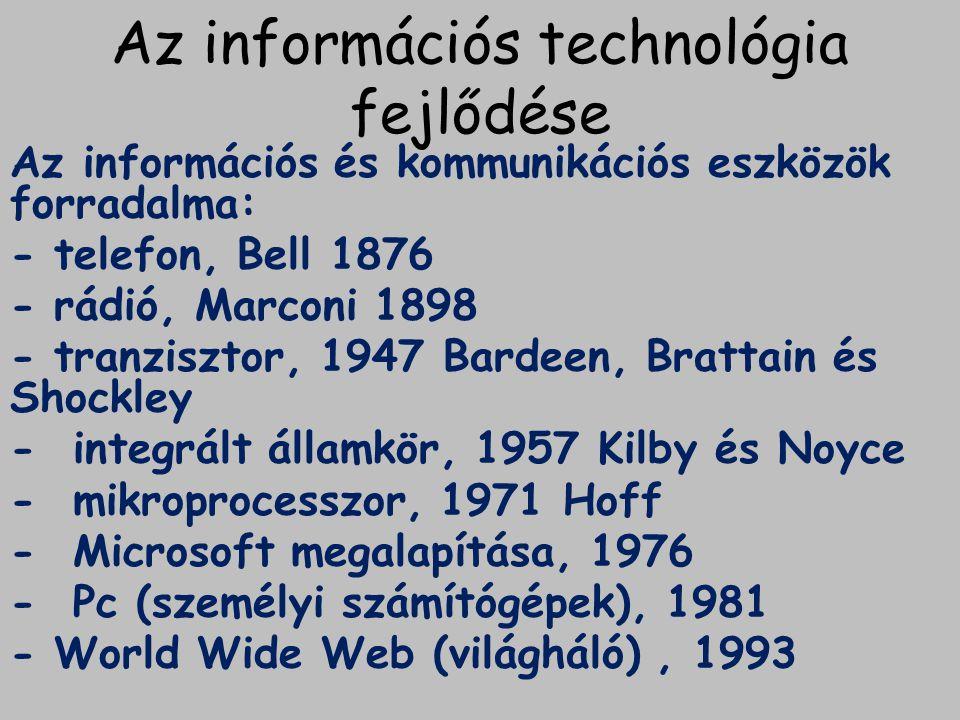Az információs társadalom születése 1970-es évek: információs forradalom születése.