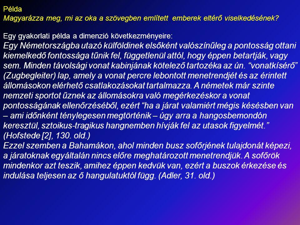 Példa Magyarázza meg, mi az oka a szövegben említett emberek eltérő viselkedésének? Egy gyakorlati példa a dimenzió következményeire: Egy Németországb