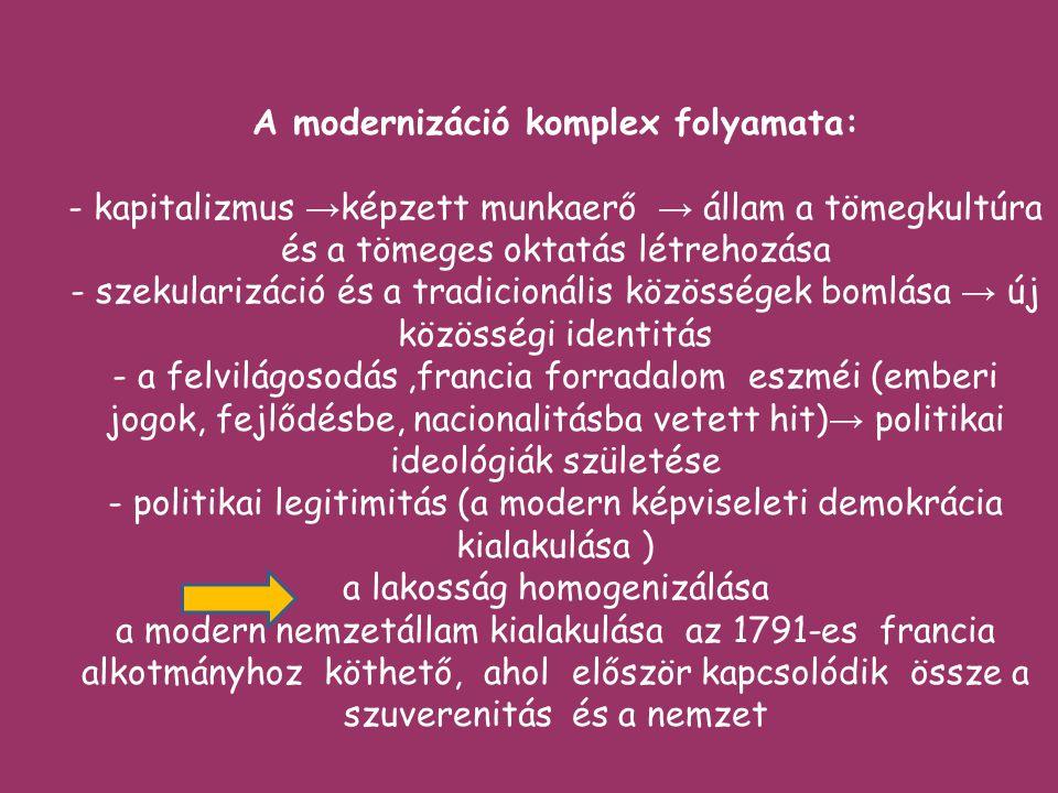 A modernizáció komplex folyamata: - kapitalizmus → képzett munkaerő → állam a tömegkultúra és a tömeges oktatás létrehozása - szekularizáció és a tradicionális közösségek bomlása → új közösségi identitás - a felvilágosodás,francia forradalom eszméi (emberi jogok, fejlődésbe, nacionalitásba vetett hit) → politikai ideológiák születése - politikai legitimitás (a modern képviseleti demokrácia kialakulása ) a lakosság homogenizálása a modern nemzetállam kialakulása az 1791-es francia alkotmányhoz köthető, ahol először kapcsolódik össze a szuverenitás és a nemzet
