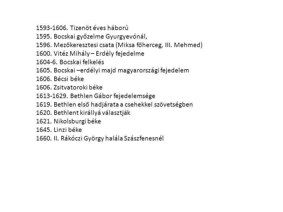 1593-1606. Tizenöt éves háború 1595. Bocskai győzelme Gyurgyevónál, 1596. Mezőkeresztesi csata (Miksa főherceg, III. Mehmed) 1600. Vitéz Mihály – Erdé