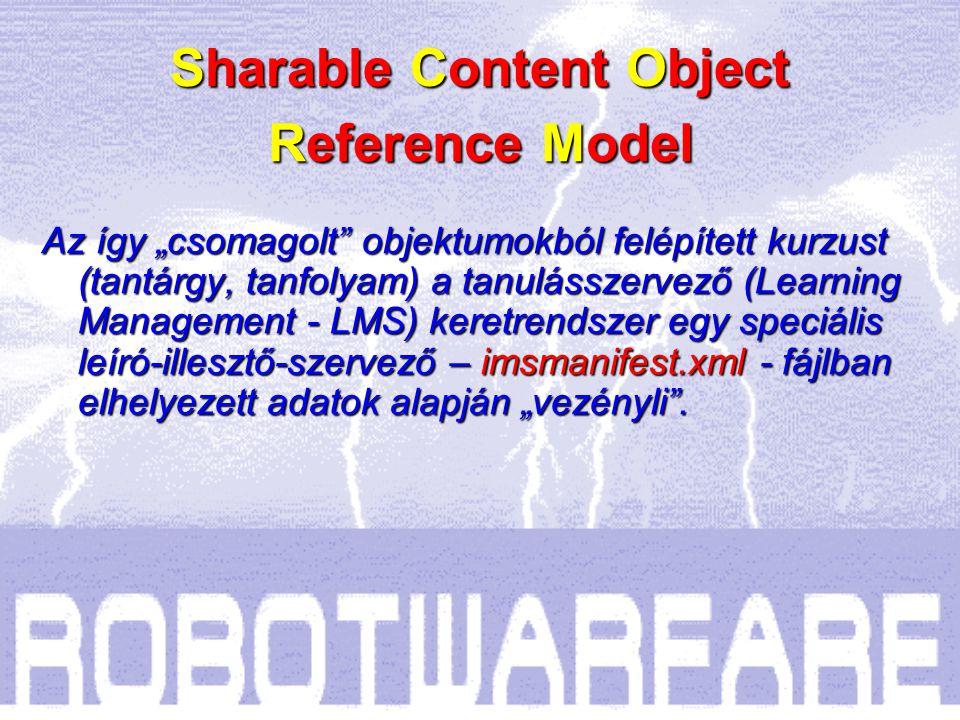 Megosztható tartalom objektum (SCO) Weblap (html;php) Grafika, fotó (jpg;gif) Videó (avi;mpg; wmv) Szöveg (doc;pdf) Bemutató (ppt;swf) Táblázat (xls) Teszt (html;js) Sharable Content Object