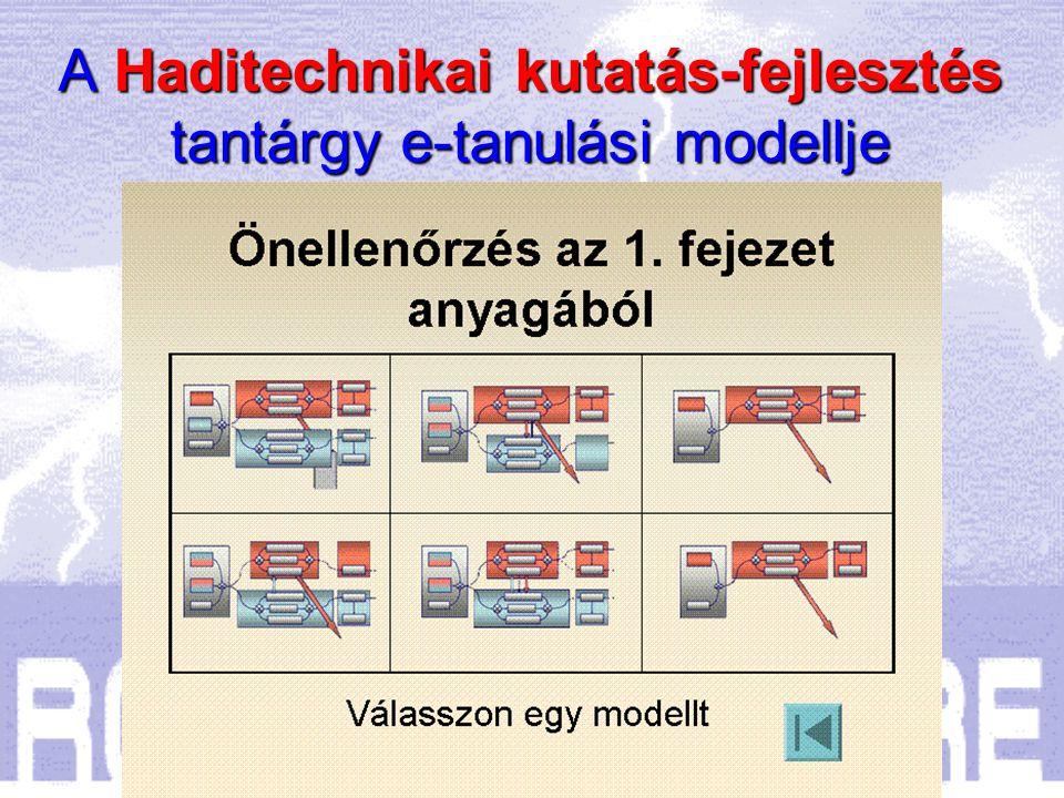  Az egyes témakörök befejezéseként a tanulók önellenőrző tesztekkel győződhetnek meg a szükséges lexikális ismeretek elsajátításáról, A Haditechnikai kutatás-fejlesztés tantárgy e-tanulási modellje