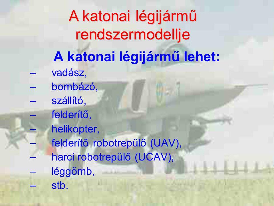 A katonai légijármű lehet: –vadász, –bombázó, –szállító, –felderítő, –helikopter, –felderítő robotrepülő (UAV), –harci robotrepülő (UCAV), –léggömb, –stb.