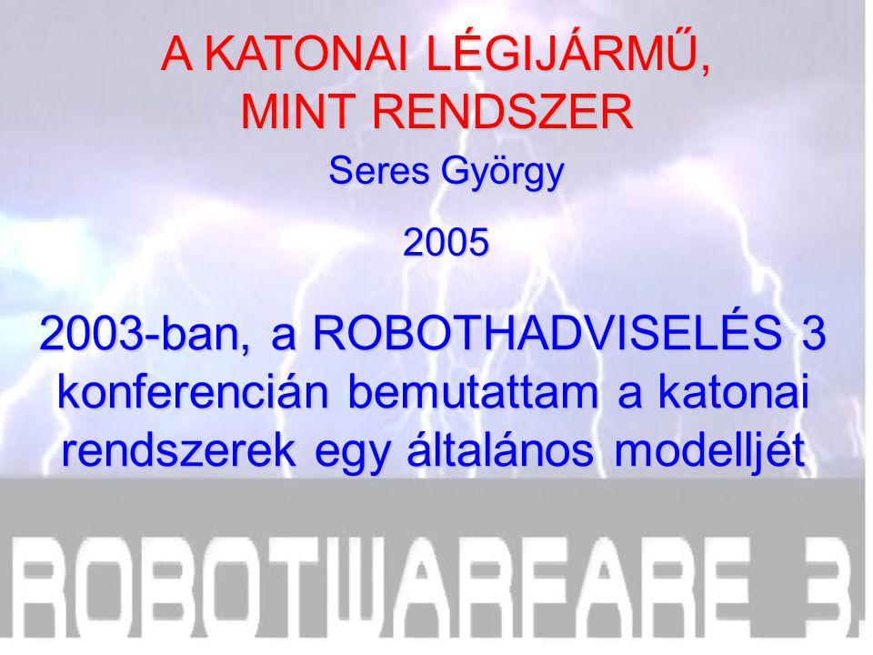 2005 2003-ban, a ROBOTHADVISELÉS 3 konferencián bemutattam a katonai rendszerek egy általános modelljét A KATONAI LÉGIJÁRMŰ, MINT RENDSZER
