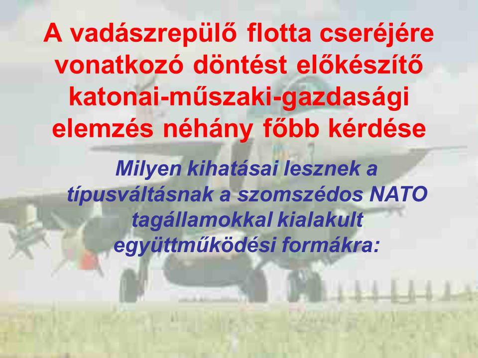 A vadászrepülő flotta cseréjére vonatkozó döntést előkészítő katonai-műszaki-gazdasági elemzés néhány főbb kérdése Milyen kihatásai lesznek a típusváltásnak a szomszédos NATO tagállamokkal kialakult együttműködési formákra: