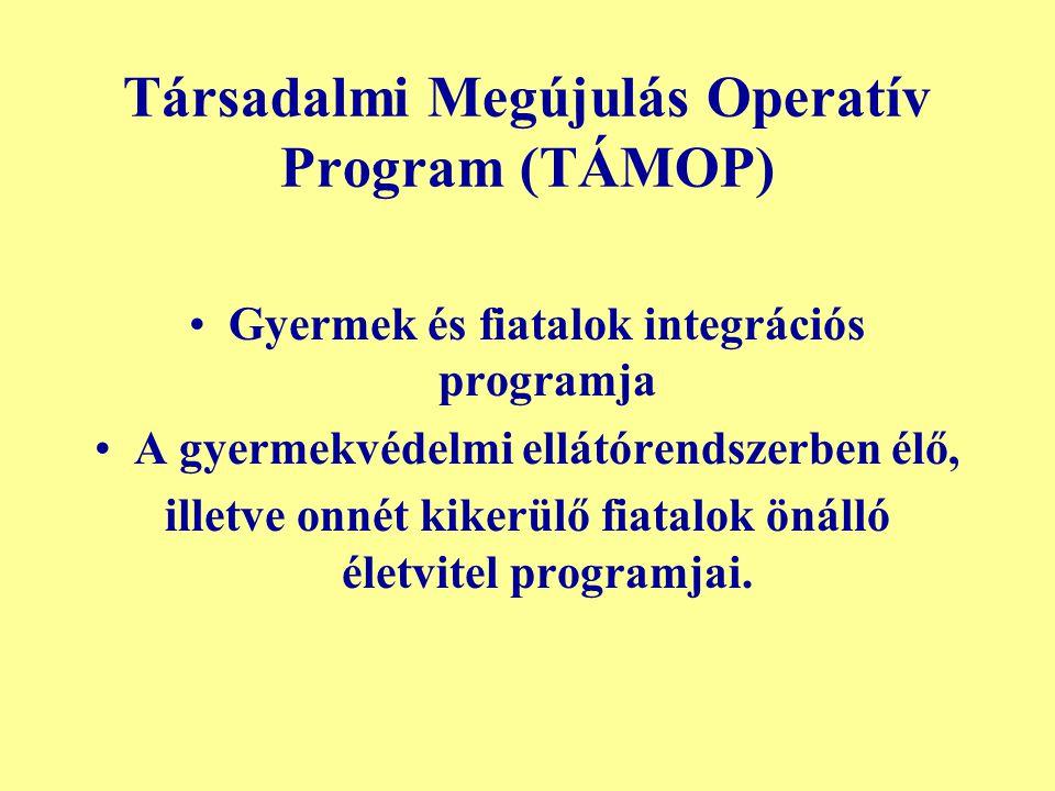 Társadalmi Megújulás Operatív Program (TÁMOP) Gyermek és fiatalok integrációs programja A gyermekvédelmi ellátórendszerben élő, illetve onnét kikerülő