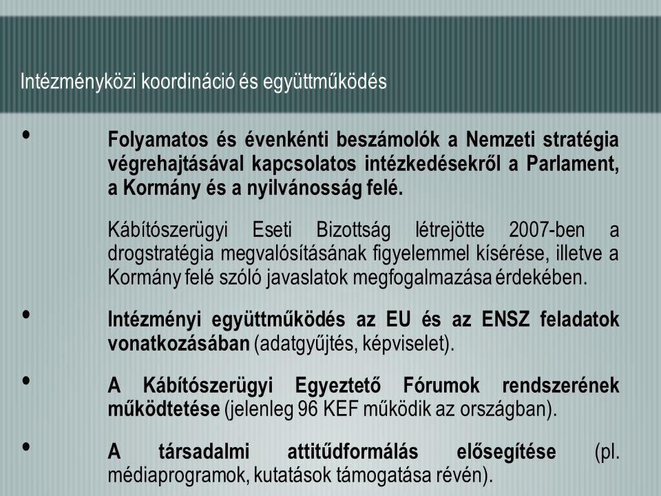 Folyamatos és évenkénti beszámolók a Nemzeti stratégia végrehajtásával kapcsolatos intézkedésekről a Parlament, a Kormány és a nyilvánosság felé. Kábí