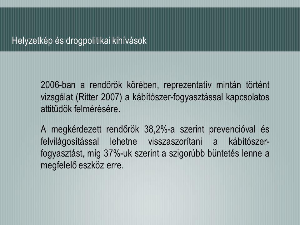 Helyzetkép és drogpolitikai kihívások 2006-ban a rendőrök körében, reprezentatív mintán történt vizsgálat (Ritter 2007) a kábítószer-fogyasztással kap