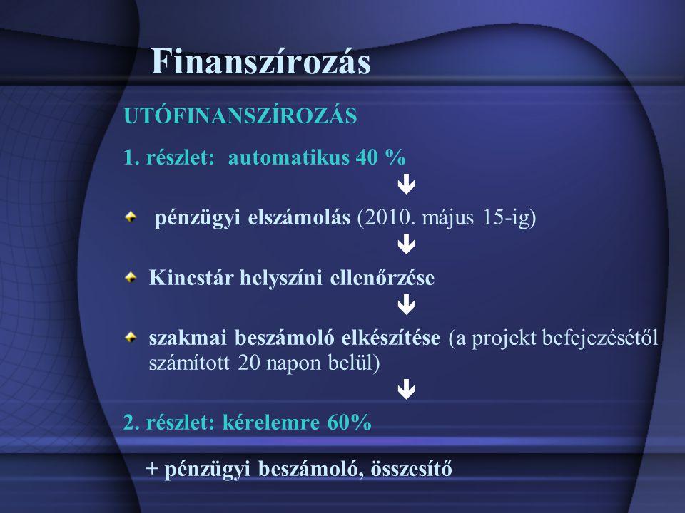 Finanszírozás UTÓFINANSZÍROZÁS 1. részlet: automatikus 40 %  pénzügyi elszámolás (2010.