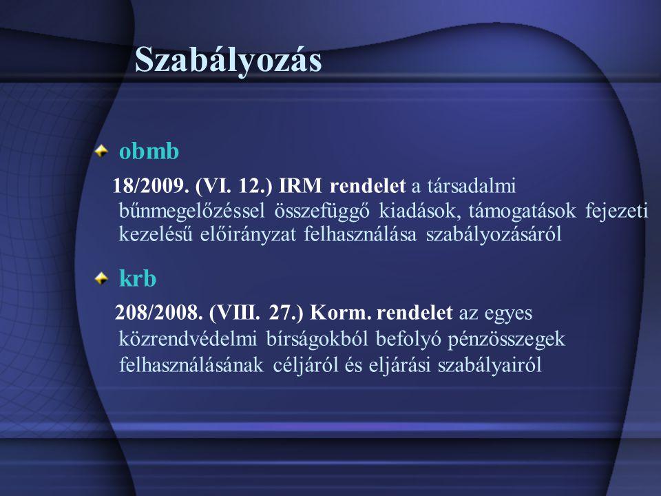 Szabályozás obmb 18/2009. (VI.