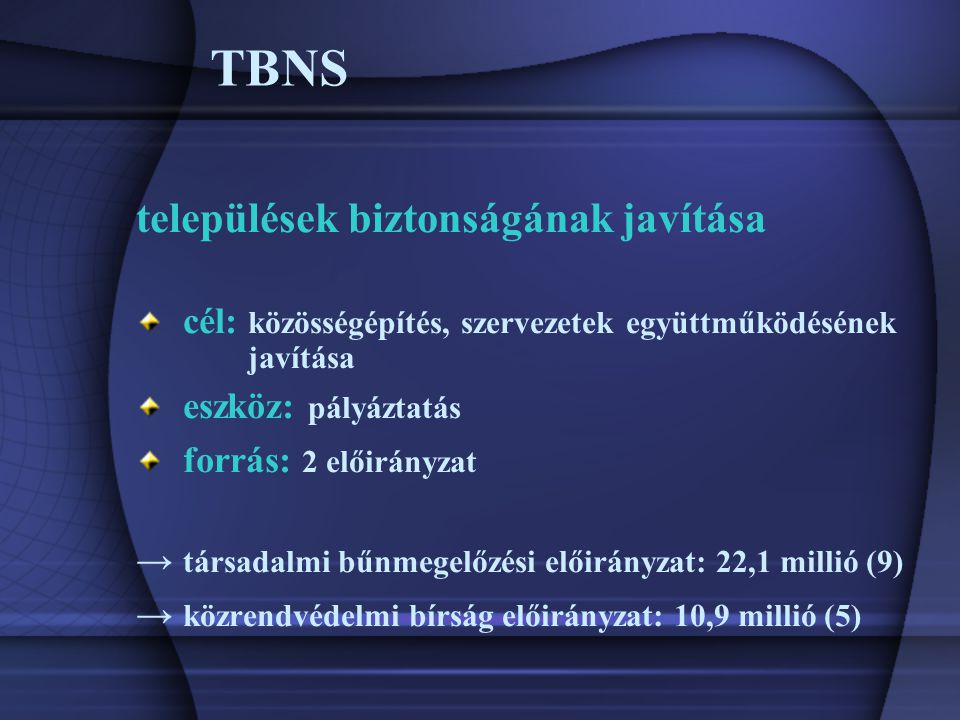 TBNS települések biztonságának javítása cél: közösségépítés, szervezetek együttműködésének javítása eszköz: pályáztatás forrás: 2 előirányzat → társadalmi bűnmegelőzési előirányzat: 22,1 millió (9) → közrendvédelmi bírság előirányzat: 10,9 millió (5)