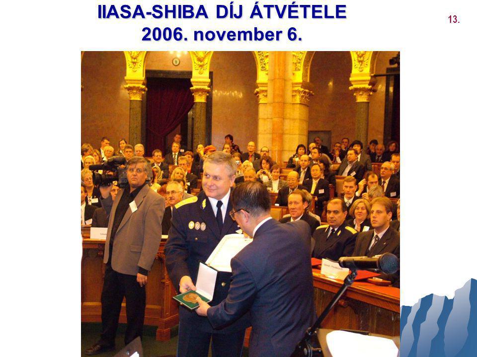 IIASA-SHIBA DÍJ ÁTVÉTELE 2006. november 6. 13.